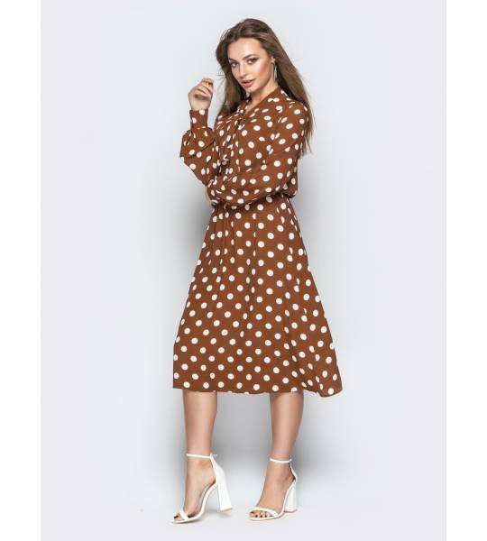 6c7e16095bc Купить Платье в горох Коричневый цвет